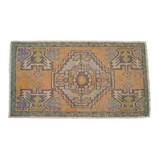 """Distressed Low Pile Oushak Yastik Rug Low Pile Faded Mat - 21"""" X 37"""" For Sale"""