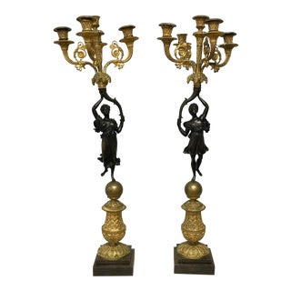French Empire Bronze Dore Candleabras - a Pair