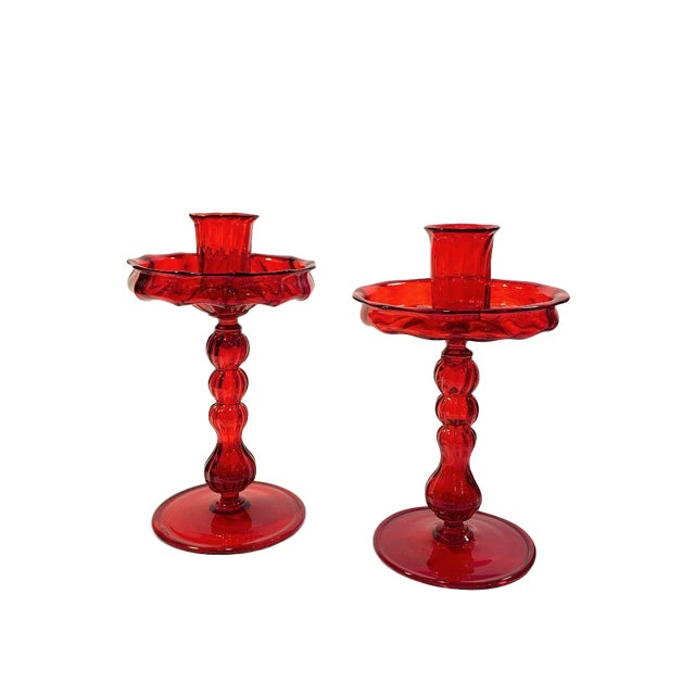 Baroque Murano Hand Blown Glass Candle Holders With Bobeche - a Pair For Sale - Image 3 of 5