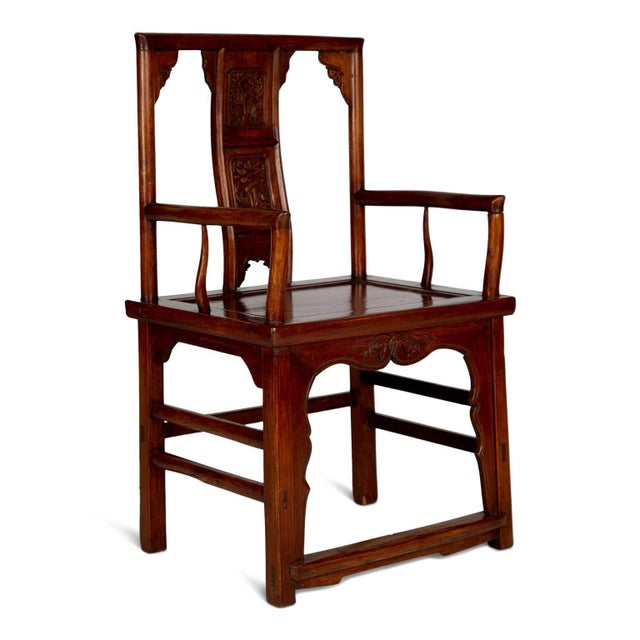 Asian Pair of Chinese Carved Throne Armchairs For Sale - Image 3 of 11