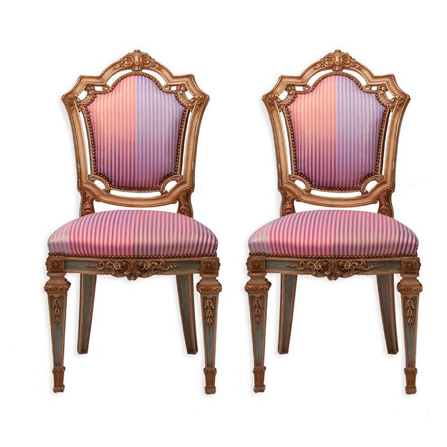 Louis XVI Side Chairs in Syrian Damascus Metallic Stripes - Pair For Sale