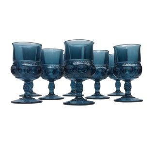 1960s Contemporary Smoky Blue Glass Goblets - Set of 8 For Sale