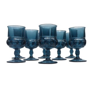 1960s Smoky Blue Glass Goblets - Set of 8 Stemmed Water or Wine Glasses For Sale