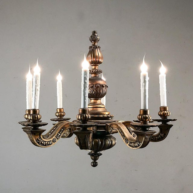 Baroque Antique Italian Giltwood Chandelier For Sale - Image 3 of 13