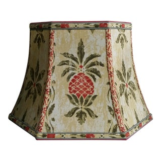 Vintage Pineapple Greeff Fabric Mustard Olive Green and Coral Lampshade For Sale