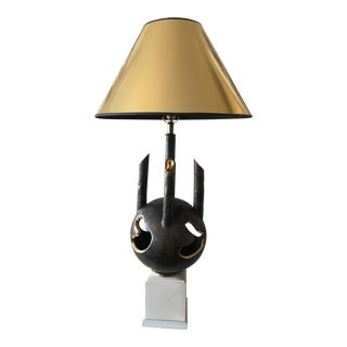Mid - Century Brutalist Brown and Gold Ceramic Steam Pipe Lamp For Sale