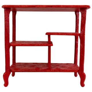 Console, Indochinese Work, Red Lacquered Wood, Circa 1960, France For Sale