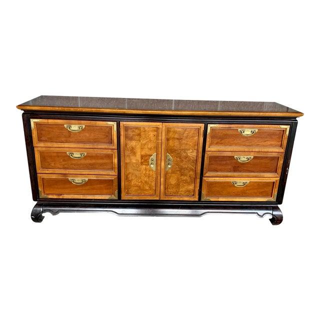 Vintage Oriental Nine Drawer Dresser For Sale
