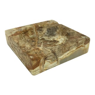 Brown Square Marble Stone Ashtray For Sale