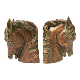 Pair of Sculptural Bronze Horse Head Bookends For Sale