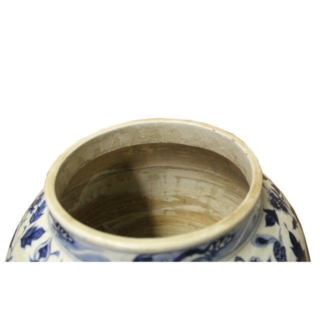 Asian Chinese Blue White Porcelain Graphic Fat Body Vase Jar For Sale - Image 3 of 10