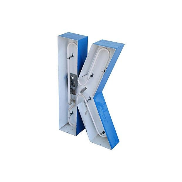Lg. Industrial Blue & White Metal Marquee Letter K - Image 2 of 6