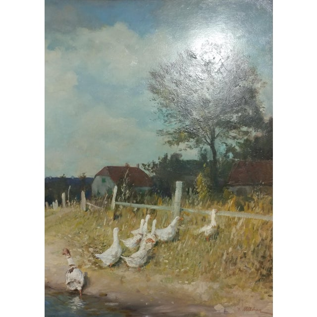"""Gari Melchers """"Belmont Lakeshore View"""" Oil Painting c.1920s For Sale - Image 4 of 10"""