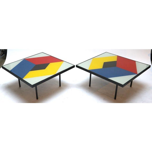 Memphis Reverse Painted Glass Coffee Tables - a Pair For Sale - Image 3 of 7