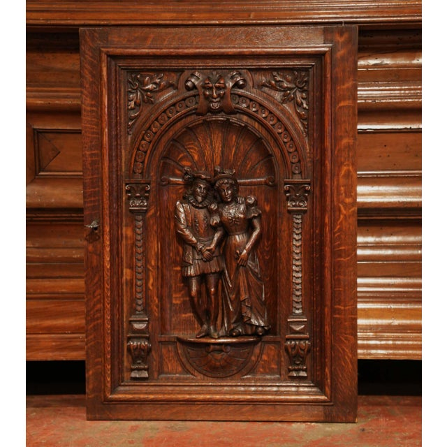 19th Century French Henri II Carved Oak Cabinet Door With High Relief Carvings For Sale - Image 4 of 6