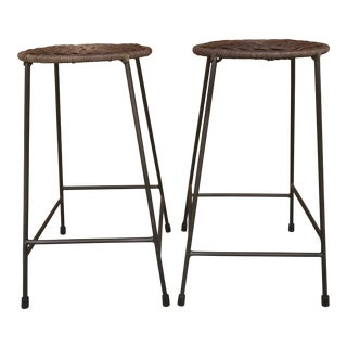 Vintage Mid Century Hair Pin Wicker Stools- A Pair For Sale