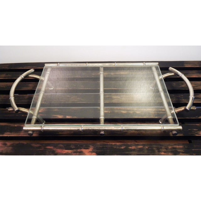 Vintage Silver & Glass Faux Bamboo Serving Tray - Image 3 of 5