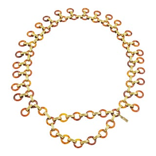Yves Saint Laurent Paris Tortoise Lucite Brass Necklace Waist or Hip Belt For Sale