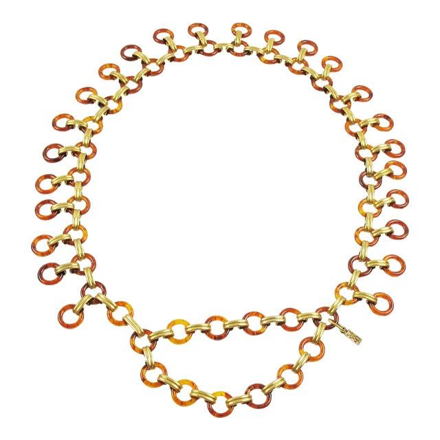 Yves Saint Laurent Paris Tortoise Lucite Brass Necklace Waist or Hip Belt For Sale
