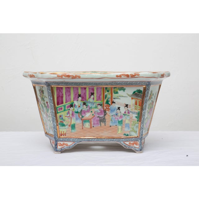 Rose Medallion Rectangular Ceramic Cache Pot/Jardiniere For Sale - Image 9 of 9
