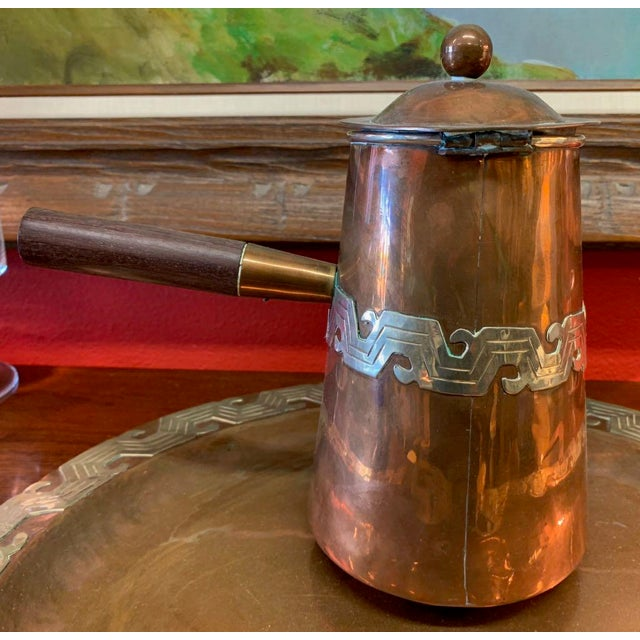 Artisanias Mexico Copper & Silver Coffee Set of 4 For Sale - Image 4 of 13
