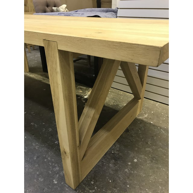Rustic Oak Finish 8-Foot Farm Table For Sale In Charlotte - Image 6 of 9