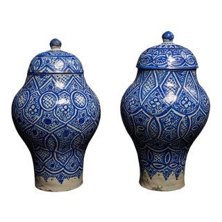 Pair of Geometric Design Moroccan Preserving Jars, Fez Pottery Late 19th Century