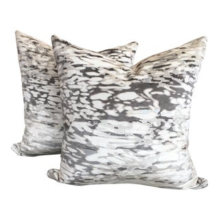 Contemporary Holly Hunt Hand Printed Metallic Velvet Fabric Pillows - a Pair