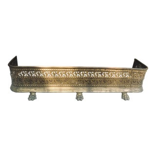 Vintage Brass Footed Fireplace Surround For Sale