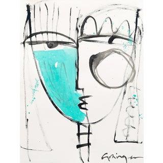 "Lesley Grainger ""Teal Babe No. 3"" Original Face Painting For Sale"