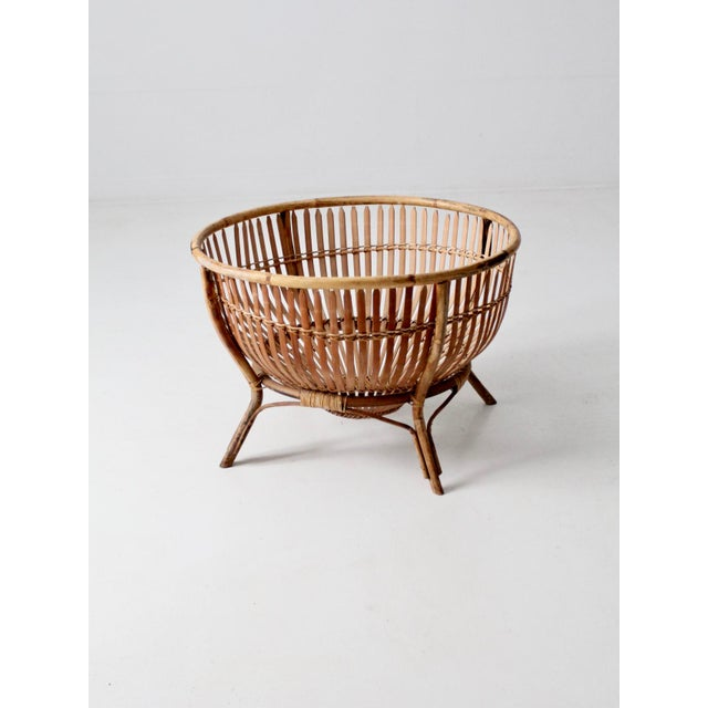 Mid-Century Rattan Basket For Sale - Image 13 of 13