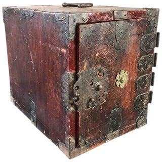 Antique Compact Chinese Seaman's Chest With Locks and Key For Sale