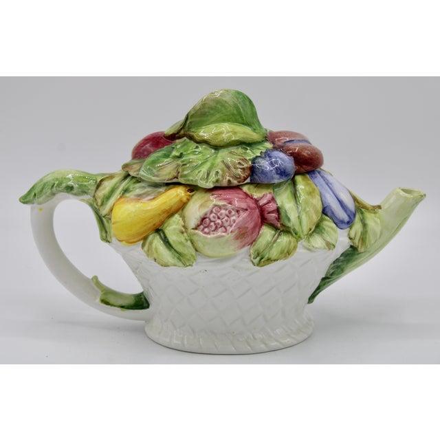 1970s Vintage Italian Ceramic Fruit Teapot For Sale - Image 5 of 13