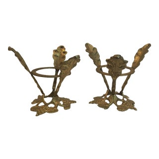Vintage Brass Leaf Candle Holders - a Pair For Sale