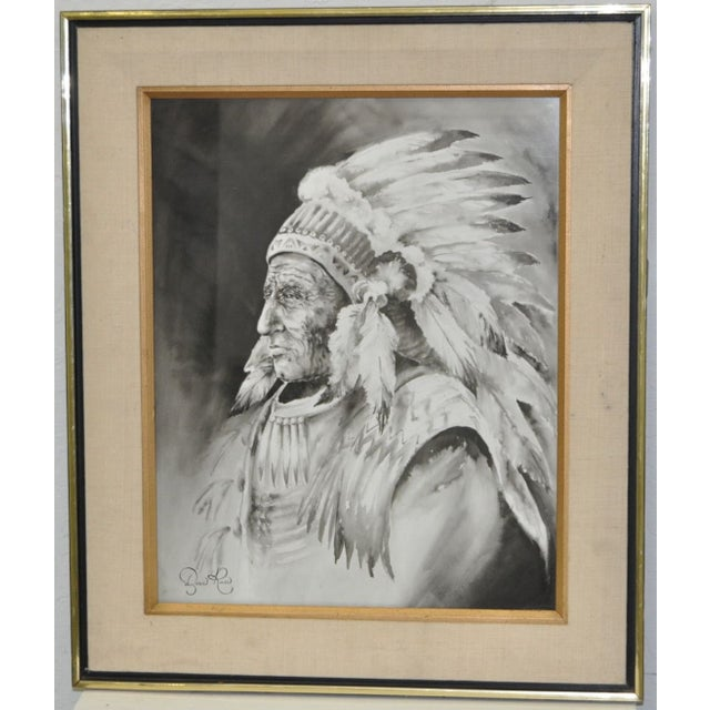 Fantastic Native American Chief watercolor by mystery artist Doris Reese. This finely detailed watercolor is absolutely...