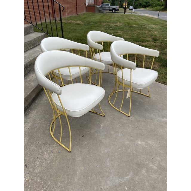 Mid-Century Modern Mid Century Iron & Vinyl Patio Chairs - Set/4 For Sale - Image 3 of 8
