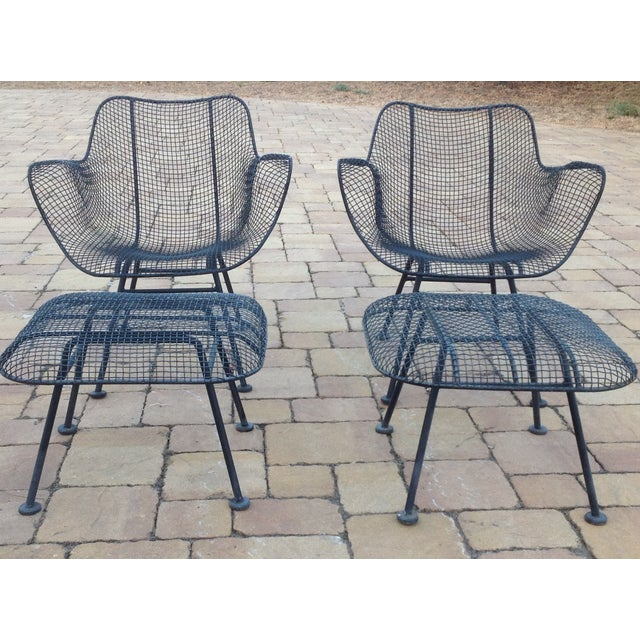 Russell Woodard Wire Chairs & Ottoman - Pair - Image 2 of 6
