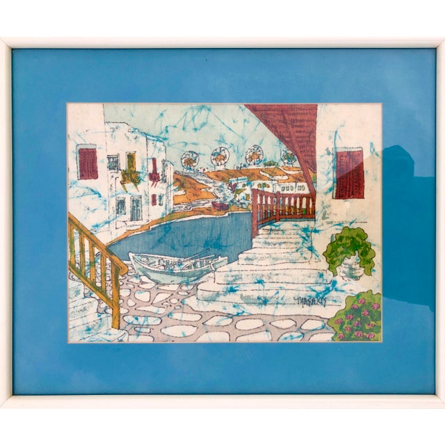 Vintage Greek Framed Batik and Cloth Paintings of Mykonos Windmills- a Pair For Sale - Image 4 of 12