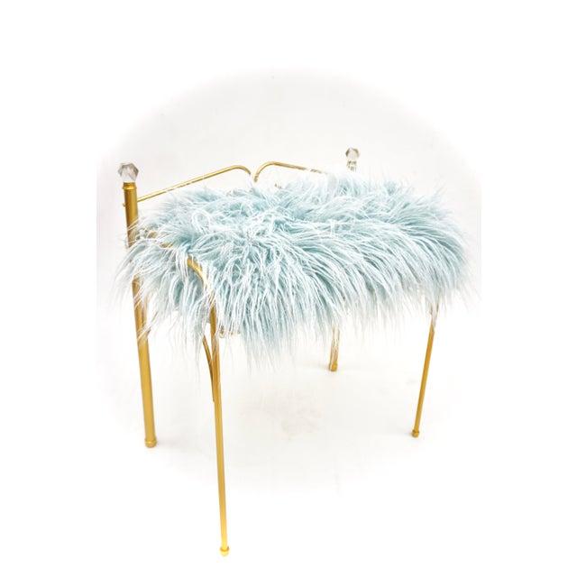 1960s Vintage Vanity Bench | Gold Metal & Light Blue Faux Fur Boudoir Chair For Sale - Image 5 of 9