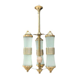 1940s French Art Deco 3 Light Lantern Chandelier For Sale