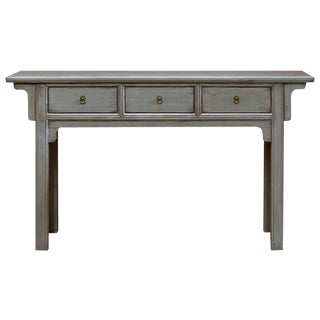 Vintage Chinese Ming Three Drawer Console Table For Sale
