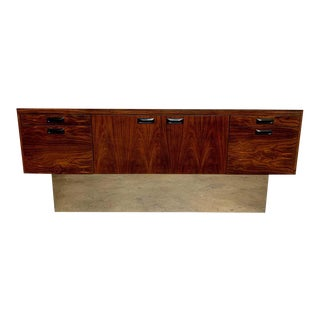 Milo Baughman Style Rosewood With Chrome Plinth Credenza For Sale