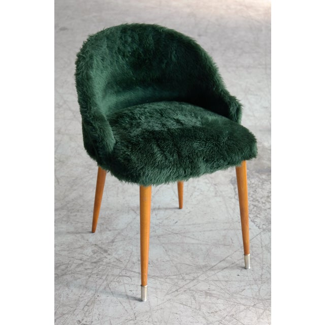Frode Holm Frode Holm Inspired Mid-Century Danish Vanity Chairs in Elm and Green Faux Fur - a Pair For Sale - Image 4 of 10