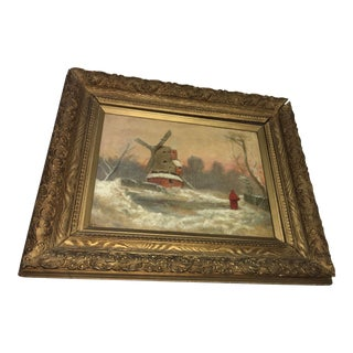 S Brigham Dutch Windmill Oil on Canvas Painting For Sale