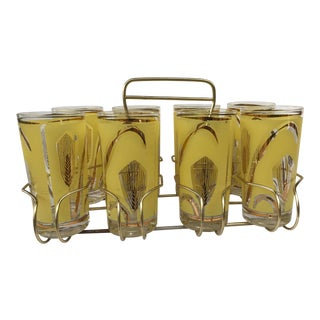 Vintage Highball Yellow & Gold Glasses in Brass Cart by Fred Press - Set of 9 For Sale