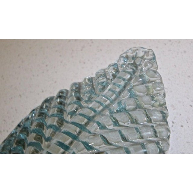 1950s Barovier Murano Aqua Blue Leaf Glass Wall Sconces - a Pair For Sale - Image 10 of 12