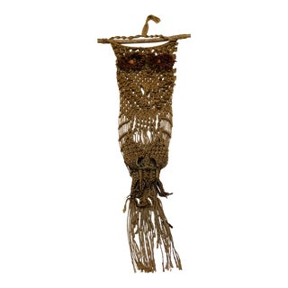 1960s Vintage Mid-Century Macrame Owl Wall Hanging Plant Holder For Sale