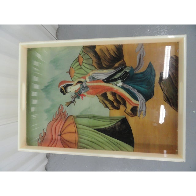 Asian Custom Acrylic Table With Tray Top With Reverse Glass Painted Art For Sale - Image 3 of 8