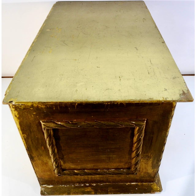Red Early 20th Century Gold Gilt Chest With Reverse Painted Glass on Stand For Sale - Image 8 of 11
