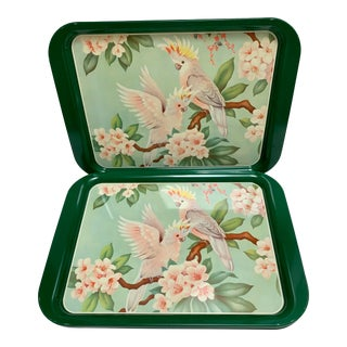 Vintage Tropical Bird Set of Six Metal Serving Lunch Trays For Sale